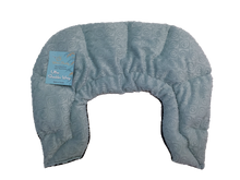 U-shaped shoulder wrap  - aqua blue swirl velour - top view
