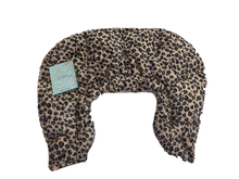 U-shaped shoulder wrap  - leopard fur print velour- top view