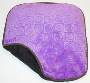 "Small square heating pad 9""x9"" -  violet purple swirl velour fabric -top folded corner view"