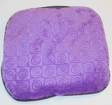 "Small stomach heating pad 9""x9"" -  violet purple swirl velour fabric -top view"