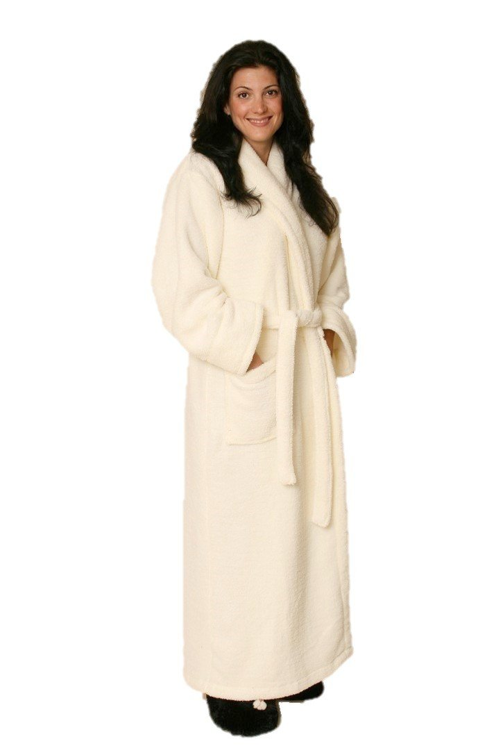 Woman wearing ankle length creamy white robe -front patch pockets shawl  collar   matching belt ... c31705805