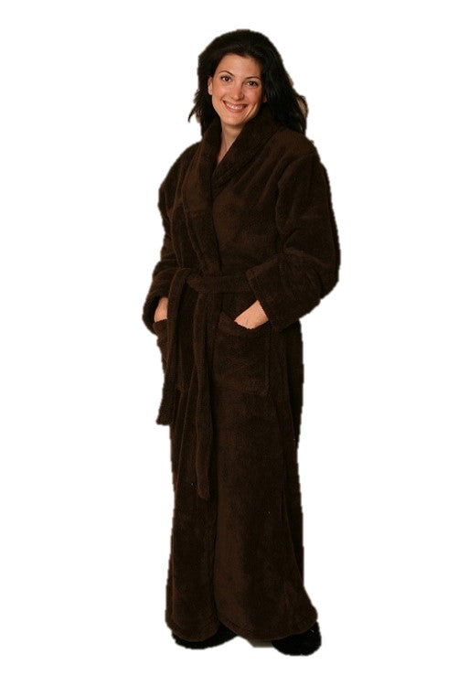 Woman wearing ankle length chocolate robe -front patch pockets shawl collar & matching belt.