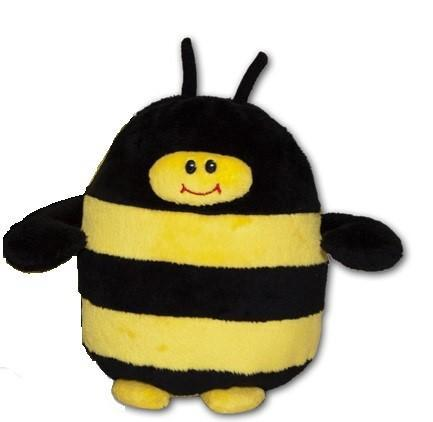 Baby bumble bee stuffed toy - black & yellow bee with black wings, antennae, yellow feet and smiling face