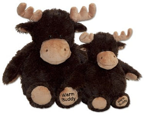 Large and baby moose stuffed animals side by side - chocolate brown fur with tan noses, antlers & feet