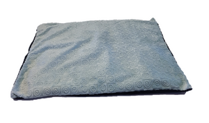 "Square microwavable warming blanket 15""x19""- aqua blue swirl - top angle view"