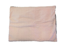 "Square microwavable warming blanket 15""x19""-soft pink swirl - top view"