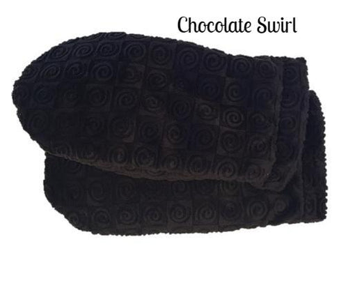 Heated mittens -fingerless thumbless microwave heated- brown swirl velour fabric