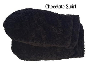 Warming mittens -fingerless thumbless microwave heated- chocolate brown swirl velour fabric