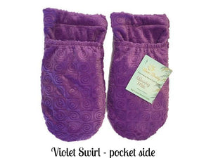 violet-swirl-velour-microwave-heated-fingerless-thumbless-warming-mittens-pocket-side