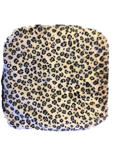 "Small stomach heating pad 9""x9"" -  leopard fur velour fabric -top view"