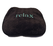 "Small stomach heating pad 9""x9"" - embroidered ""Relax"" text on brown velour -top angle view"