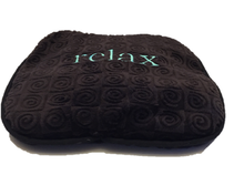 "Small stomach heating pad 9""x9"" - embroidered ""Relax"" text on brown velour -front angle view"
