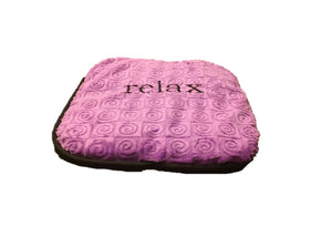 "Small stomach heating pad 9""x9"" - embroidered ""Relax"" text on violet swirl velour -front angle view"
