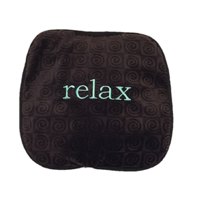 "Small square heating pad 9""x9"" - embroidered ""relax"" text on chocolate brown swirl velour fabric -top view"