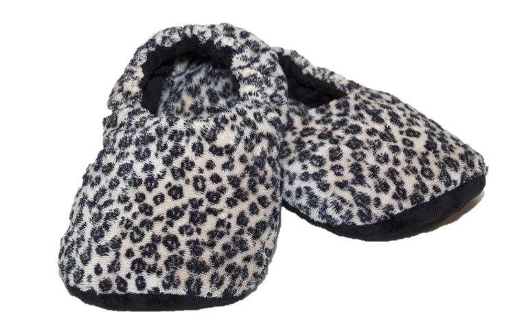 Leopard print fur warming slippers -elasticized around ankles