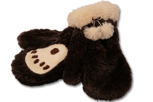 Bear paw print mittens - brown fur with tan paw print and furry cuffs