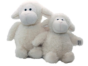 Little Buddy Wooly in front of Large Wooly sheep stuffed animal - curly creamy white fur