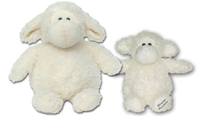 Large wooly and baby sheep stuffed animals side by side - curly creamy white fur