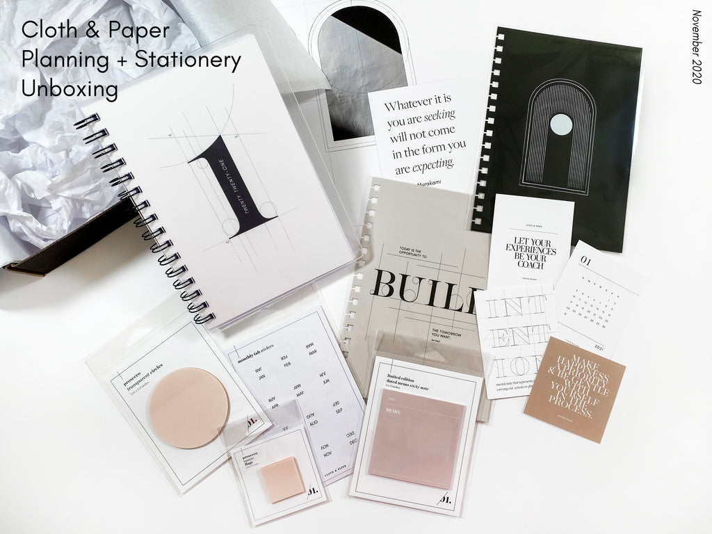 November 2020 | Cloth & Paper Planning + Stationery Unboxing