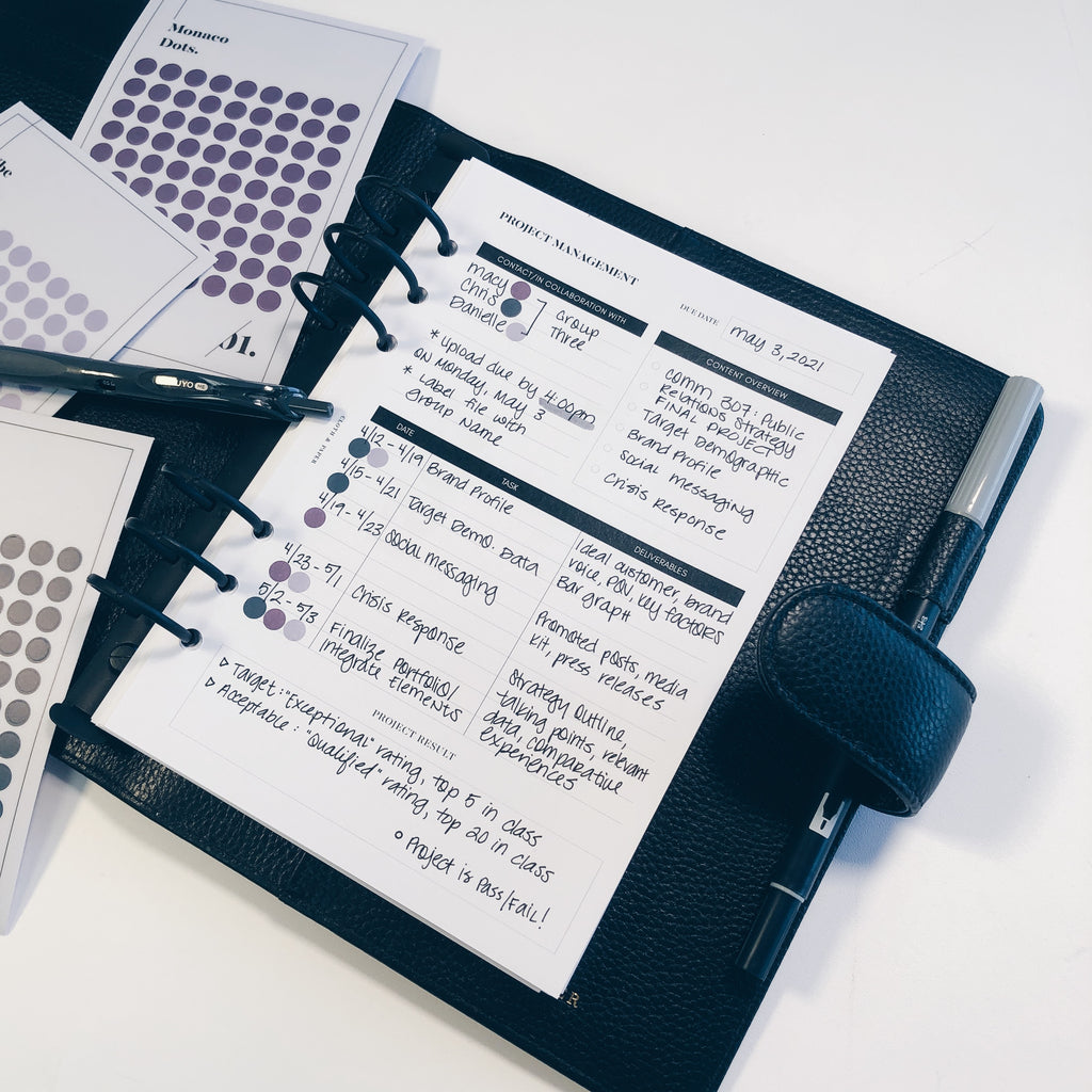 Project Management Inserts | Cloth & Paper | Planner Inserts for Project Management