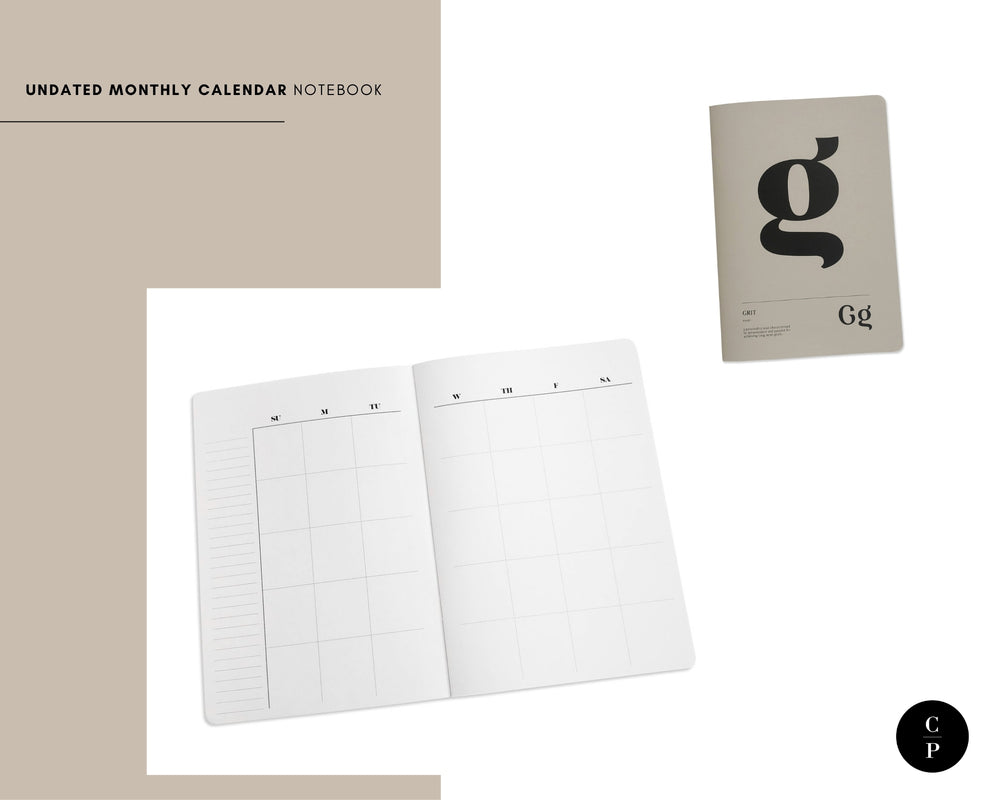 Undated Monthly Calendar Notebook | Short Story Capsule Collection | Cloth & Paper