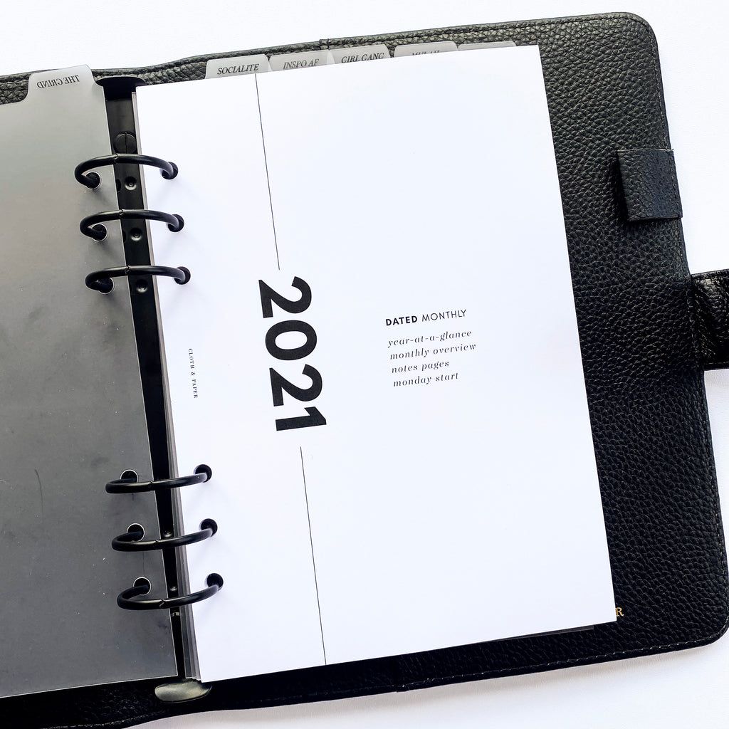 2021 DATED PLANNER INSERTS | MONTHLY | MONDAY START