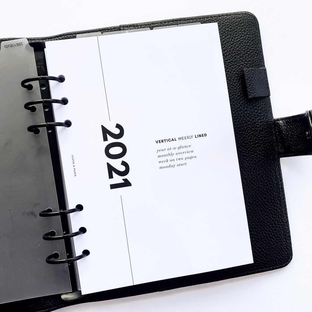2021 DATED PLANNER INSERTS | VERTICAL WEEKLY LINED | MONDAY START