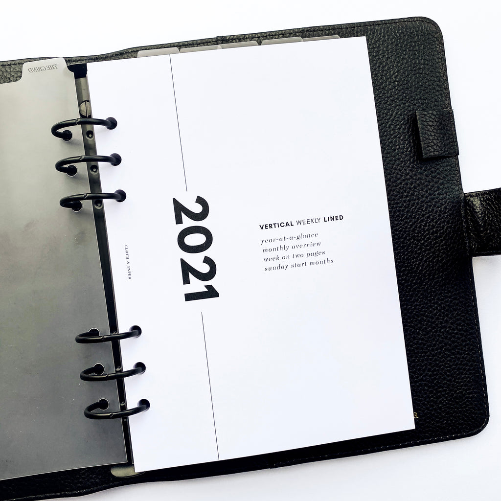 2021 DATED PLANNER INSERTS | VERTICAL WEEKLY LINED | SUNDAY START