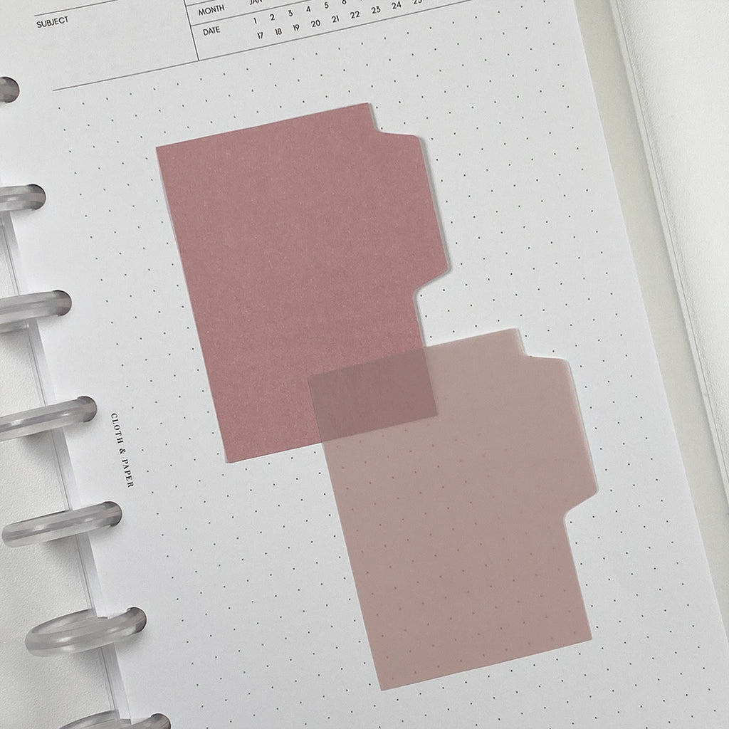Blank Tab Sticky Note Set | Rose | Cloth and Paper