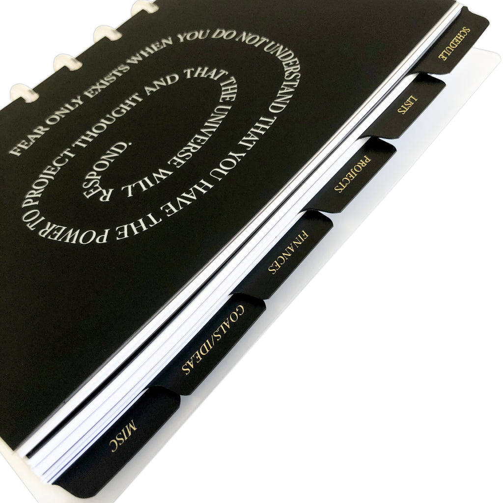 CEO Side Tab Planner Dividers | Black Plastic | Gold Foil | Cloth & Paper