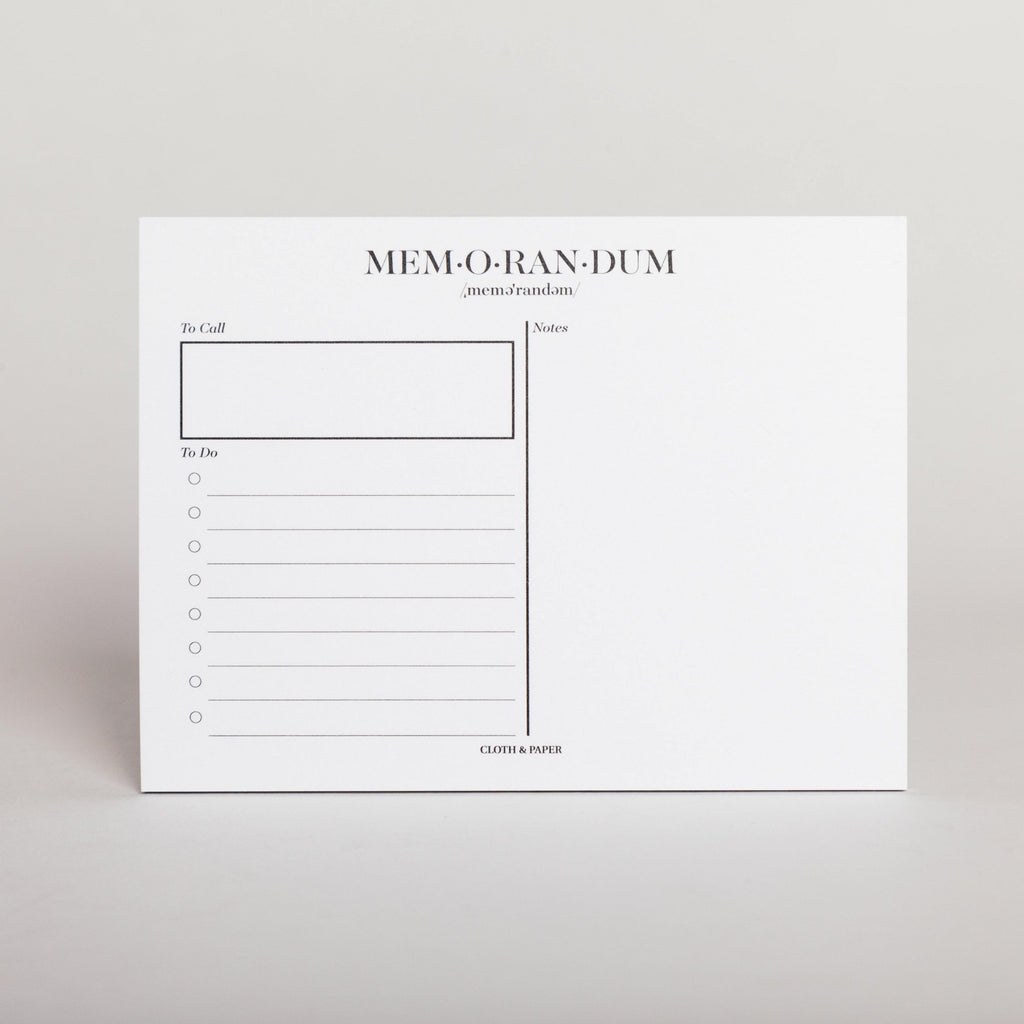 CLOTH & PAPER MEMORANDUM STICKY NOTES
