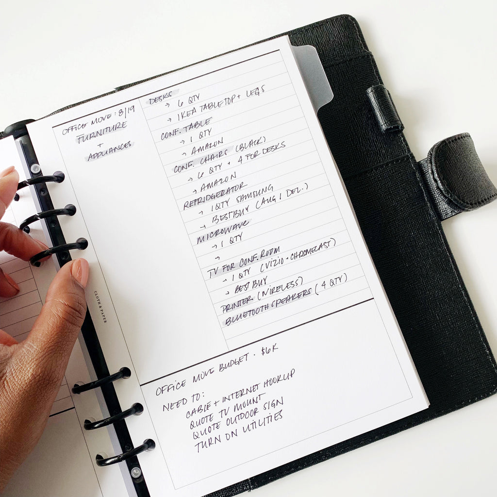Cornell Style Note-taking Inserts Cloth & Paper