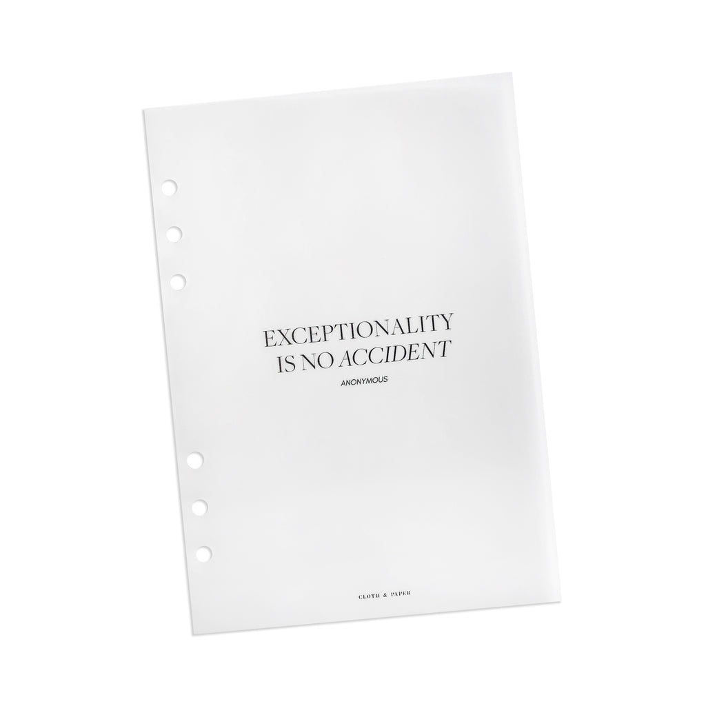 Exceptionality Dashboard | Cloth & Paper | A5 6-Ring Planner Vellum Dashboard