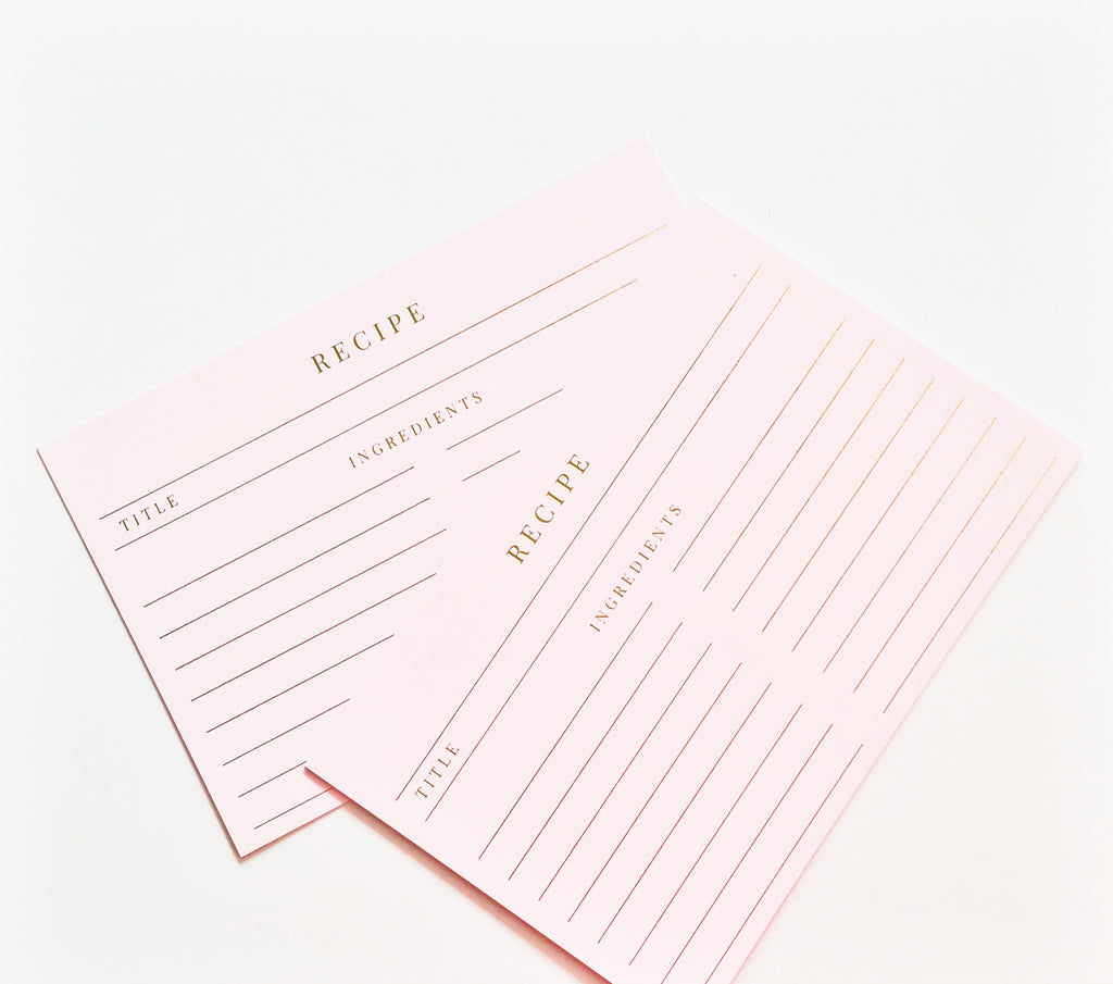 BLUSH FOILED RECIPE CARDS