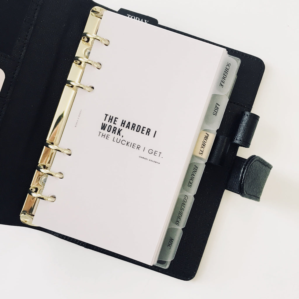 THE Harder I work transparent PLANNER AGENDA dashboard Cloth & Paper