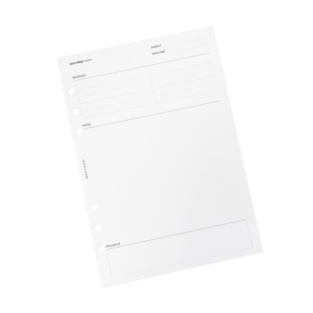 Meeting Note Inserts | Cloth & Paper | Meeting Planner Inserts