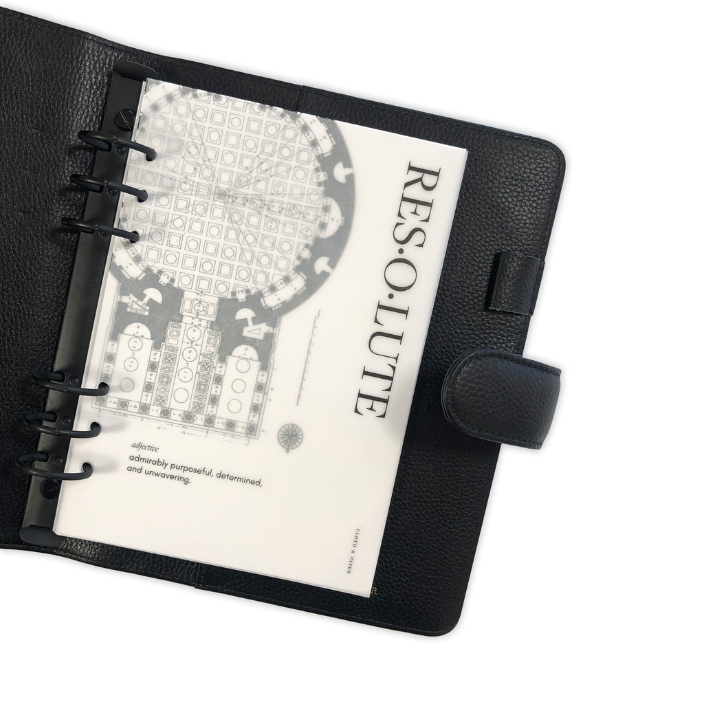 Resolute Dashboard | Cloth & Paper | Transparent Vellum Planner Dashboard