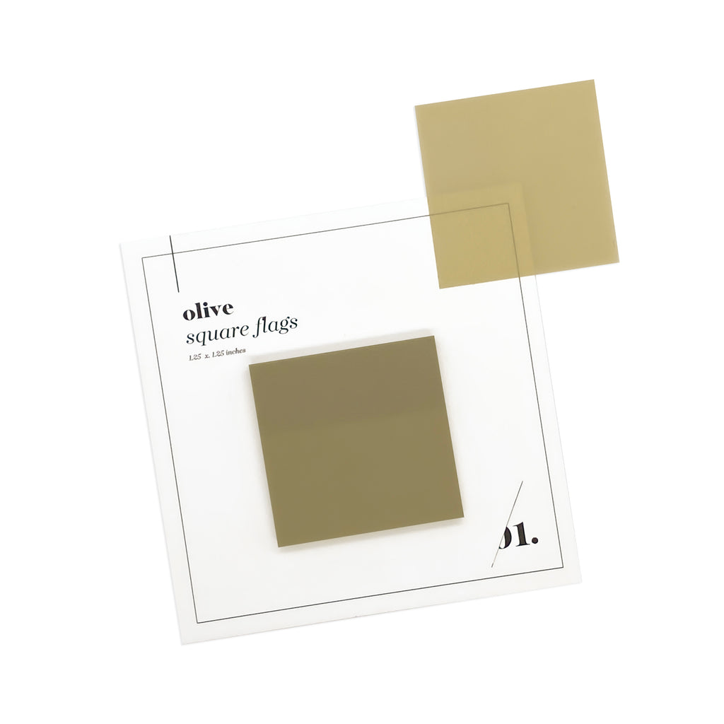 SQUARE TRANSPARENT PAGE FLAGS | OLIVE