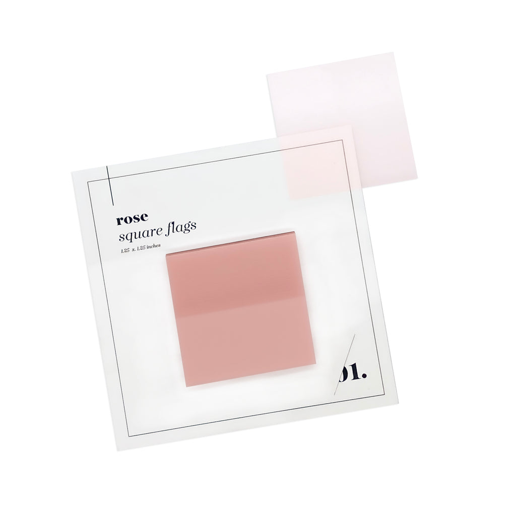 SQUARE TRANSPARENT PAGE FLAGS | ROSE