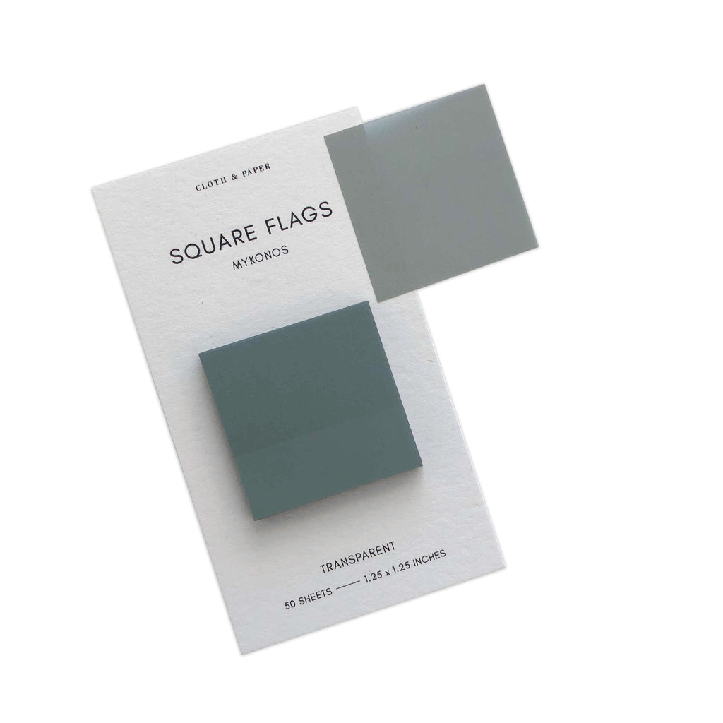 Square Transparent Page Flags | Mykonos | Cloth & Paper