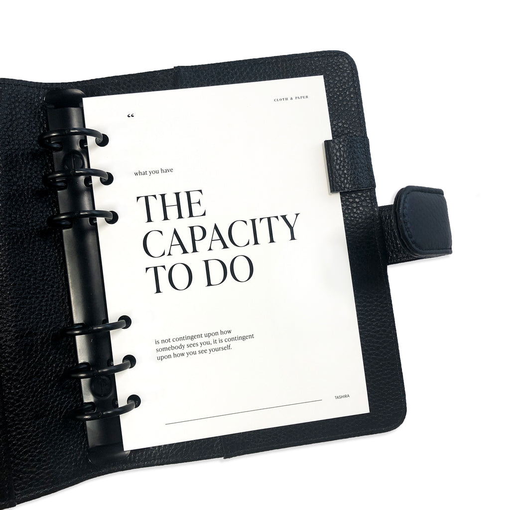 The Capacity To Do Dashboard | Cloth & Paper | Minimalist Planner Dashboard