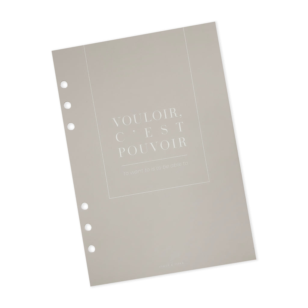 Vouloir C'est Pouvoir Dashboard | Cloth & Paper | To Want To Is To Be Able To Quote Dashboard | A5 Planner Dashboard
