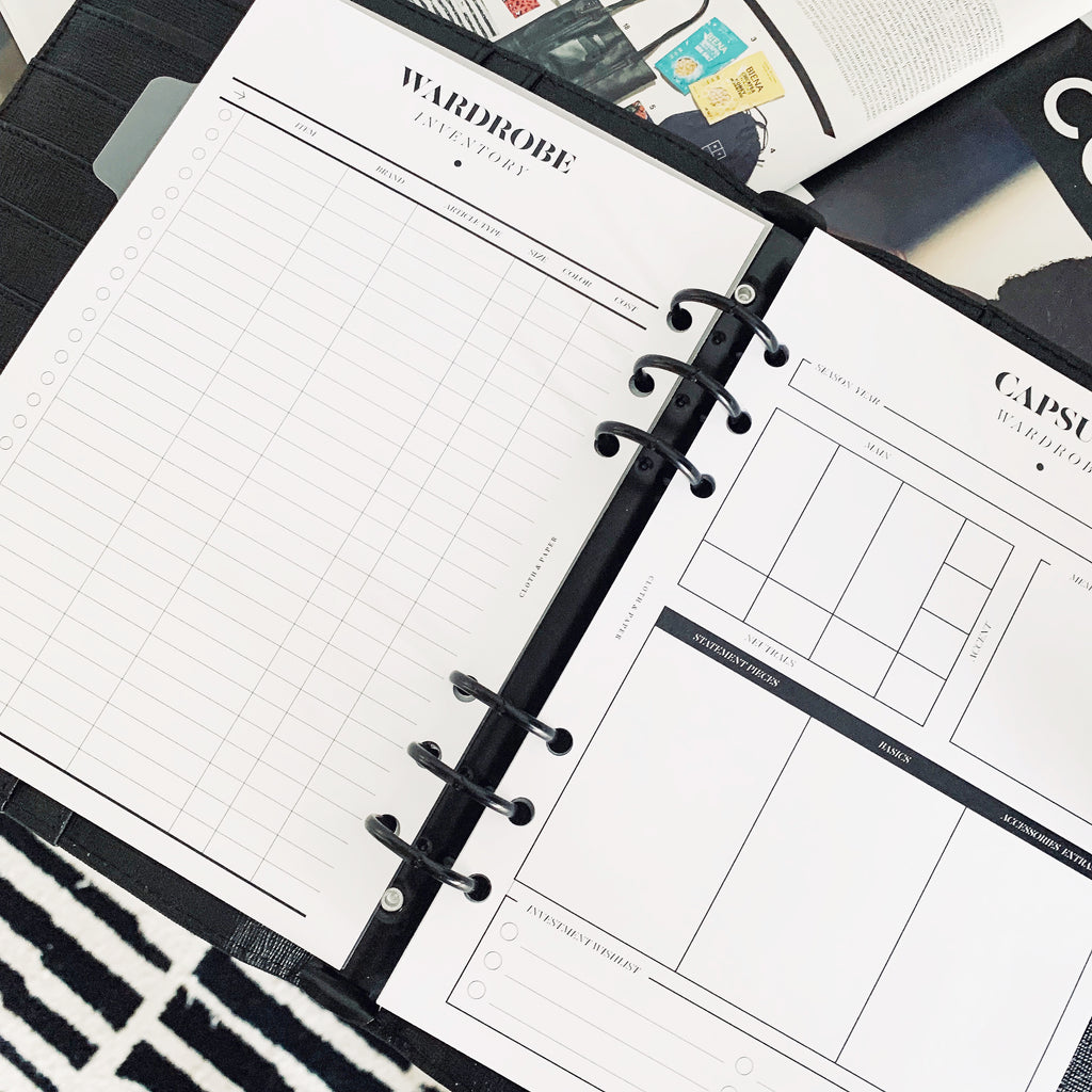Capsule Wardrobe Planner Inserts Cloth & Paper