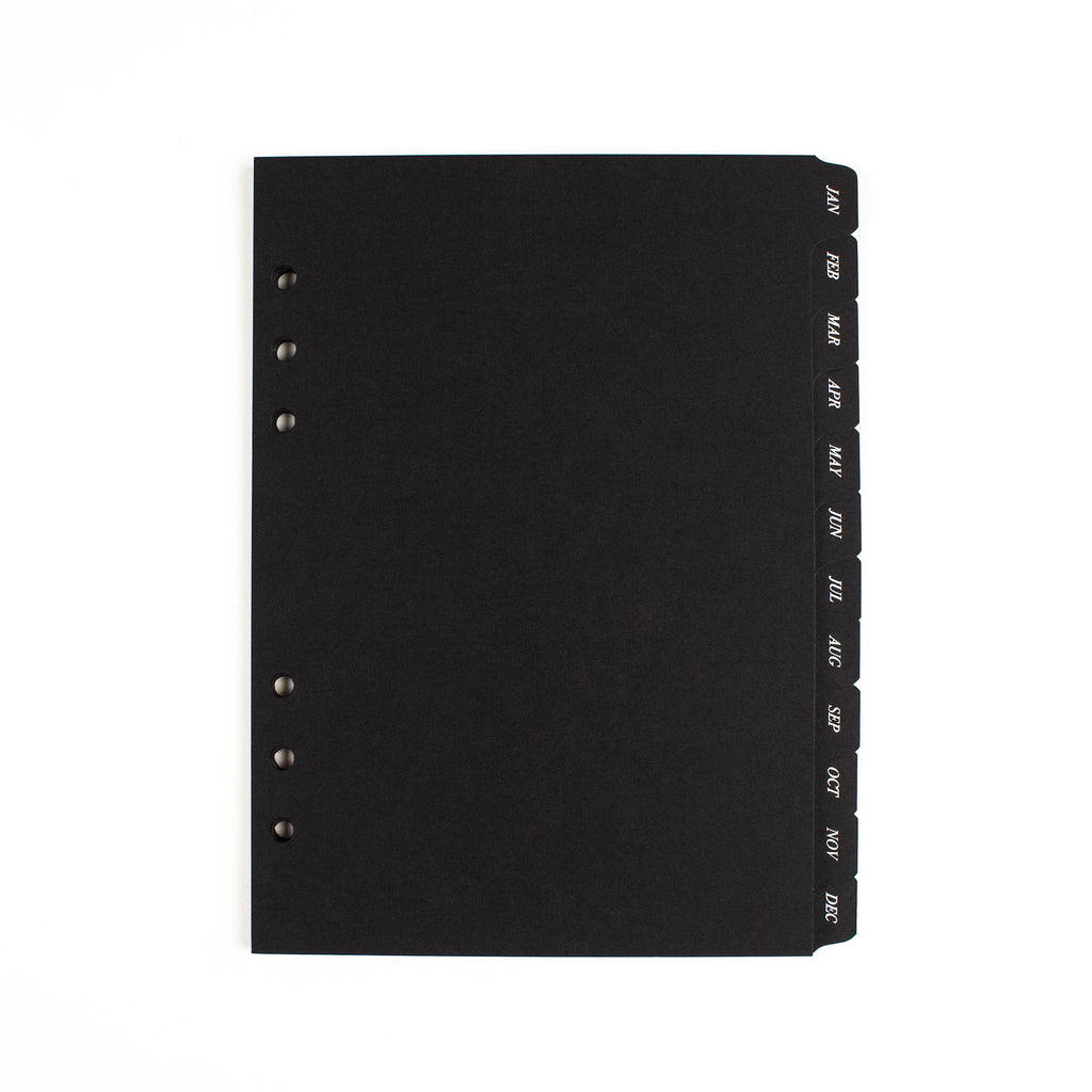 MONTHLY SIDE TAB PLANNER DIVIDERS | BLACK PAPER - WHITE FOIL - SPECIAL EDITION