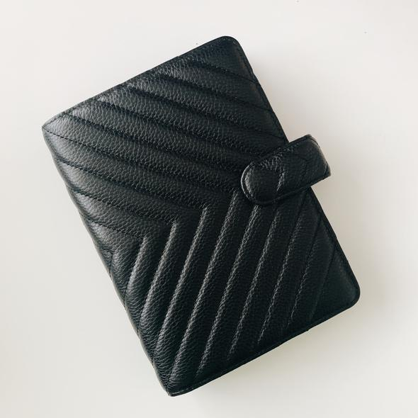 Quilted 6-Ring Agenda | Personal | Black Leather