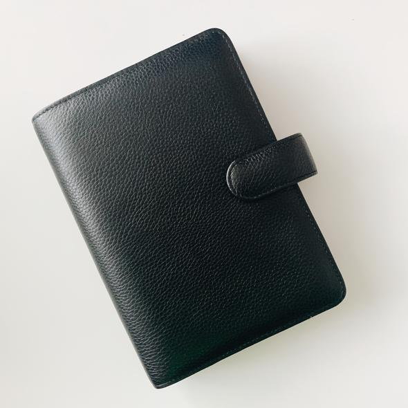 Smooth 6-Ring Agenda | Personal | Black Leather