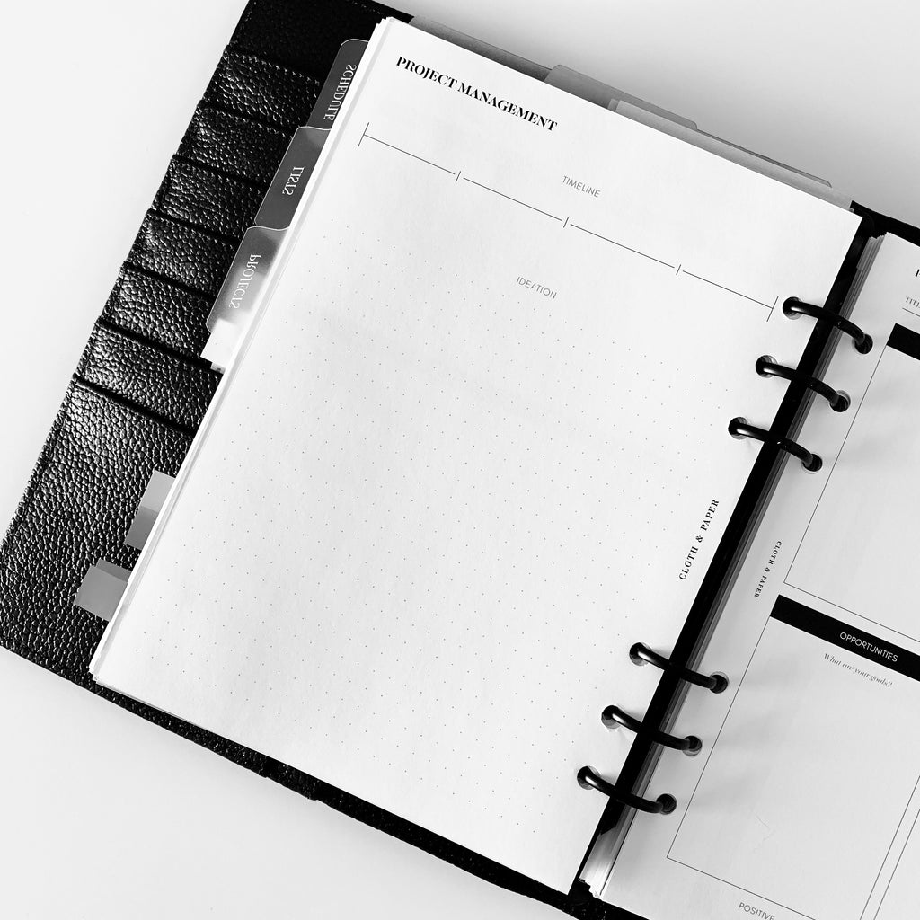 Project Management Inserts | Cloth & Paper