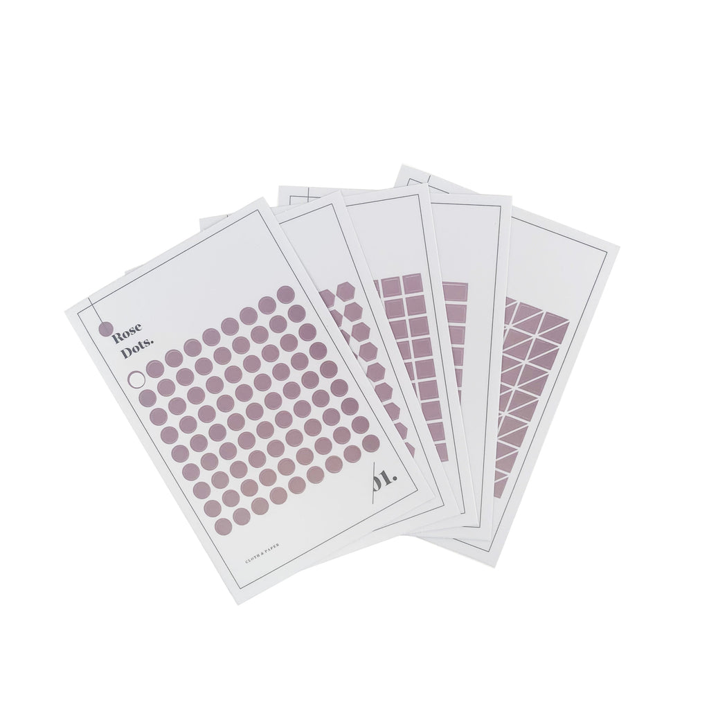 Minimal Shape Sticker Set | Rose | Transparent | Cloth & Paper
