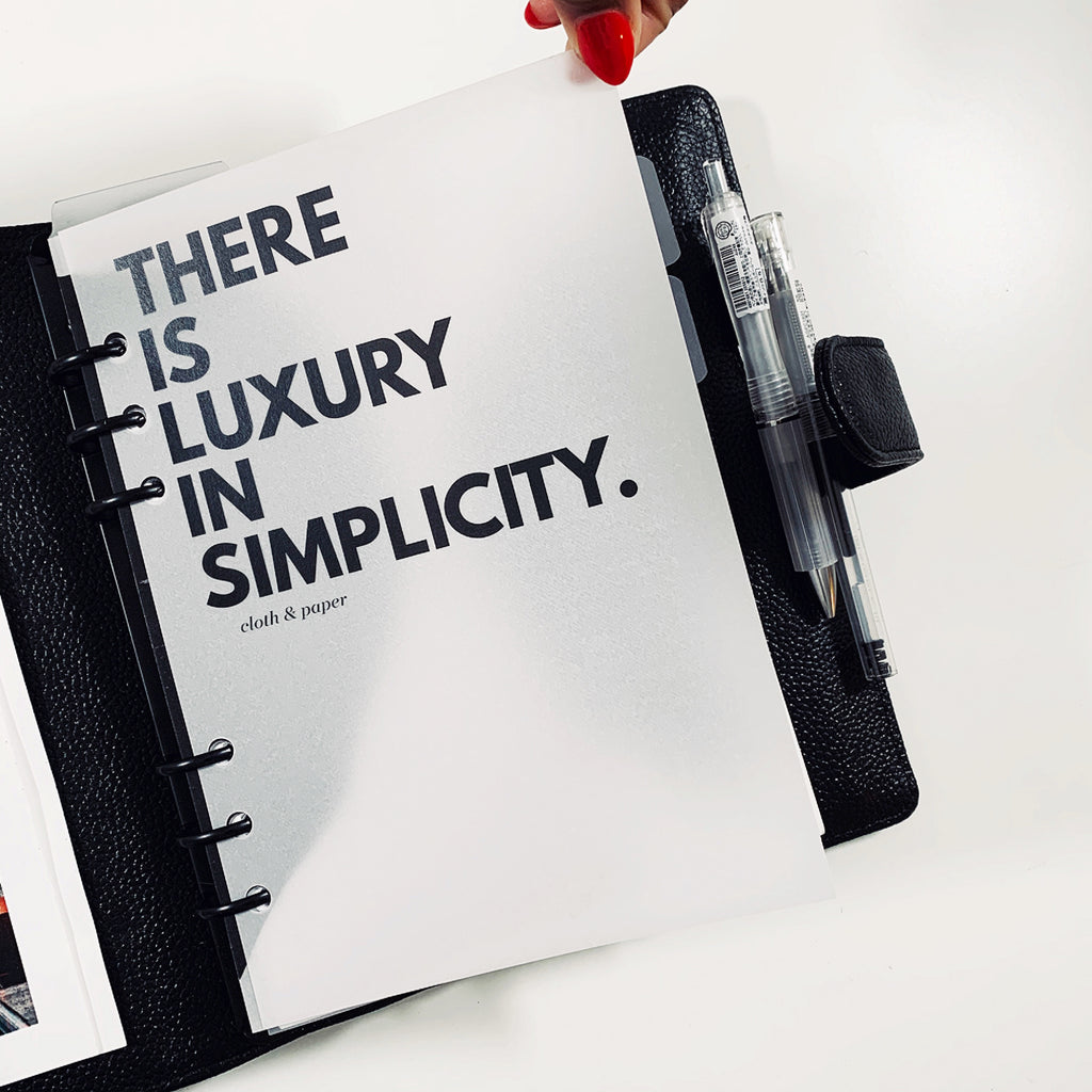 """LUXURY IN SIMPLICITY"" PLANNER DASHBOARD"