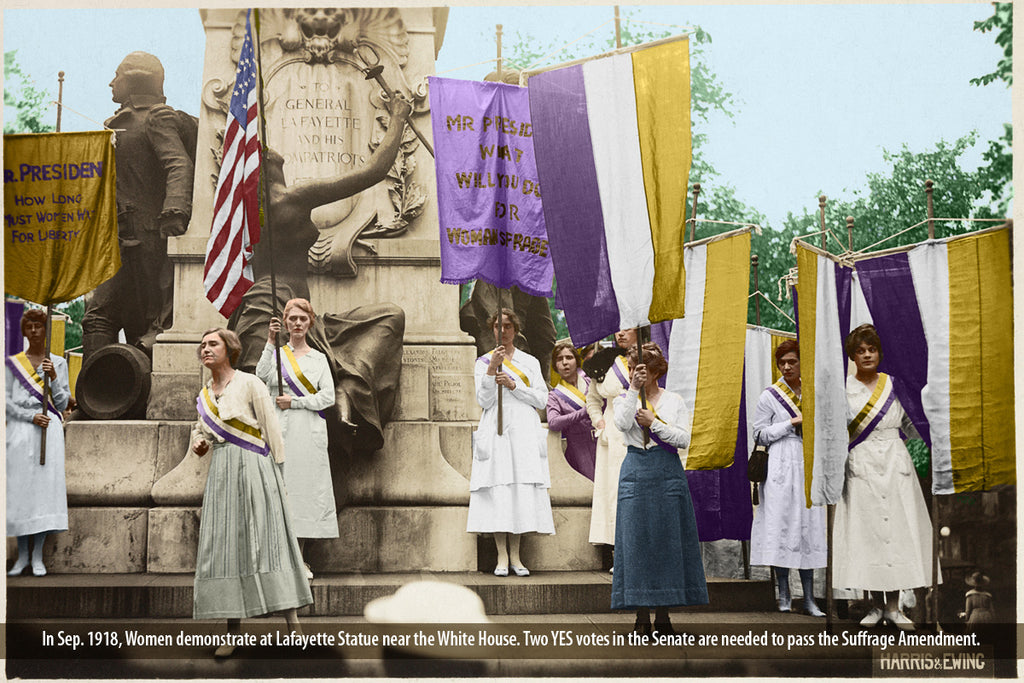 Women demonstrate at the Lafayette Statue in September 1918. Two votes are needed to pass the Amendment in the Senate.